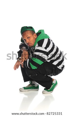 Young African American hip hop dancer isolated over white background