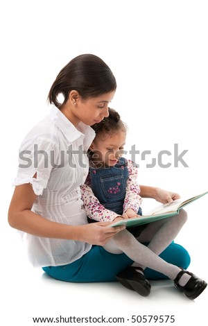 Young African American Lady and Little Girl Reading Book Together on Isolated White background