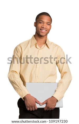 Young African American Male Holding Laptop Isolated on White Background
