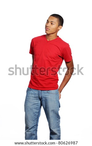 Young African American Male with hands in back pocket