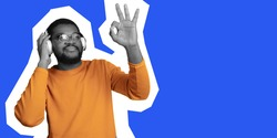 Young african-american man's portrait isolated on blue studio background, facial expression. Collage in magazine style. Flyer for design, copyspace for ad. Discount, sales season, fashion concept.