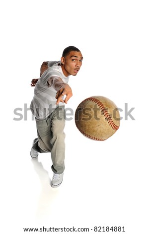 Young African American man throwing baseball isolated over white background