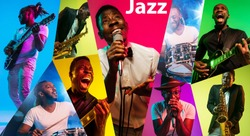 Young african-american musicians playing the guitar, saxophone, drums and singing in neon light in multicolored background. Concept of music, hobby, retro. Collage made of photo of 3 models.
