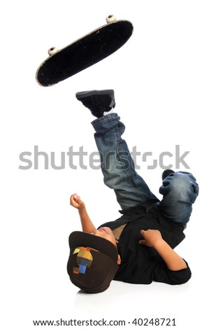 Young African American skateboarder falling isolated over white background