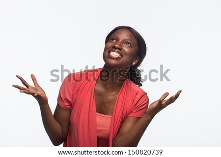 Young African American woman excited, horizontal