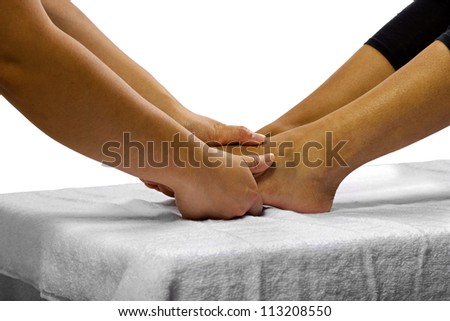 Young African American woman getting a foot massage
