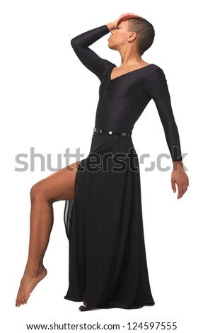 Young African American woman in elegant dance pose