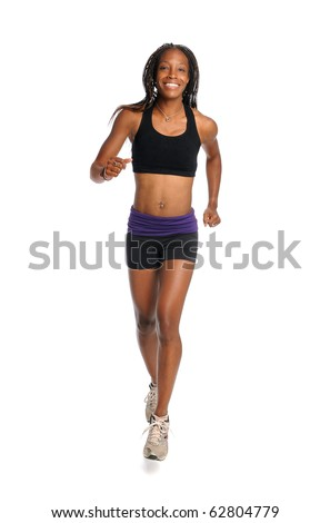 Young African American woman running isolated over white background