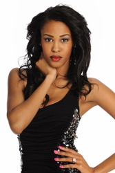 Young African American Woman wearing a black dress isolated on a white background