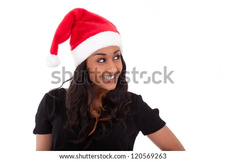 Young African American woman wearing a santa hat, isolated on white background