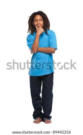 young african boy thinking in studio