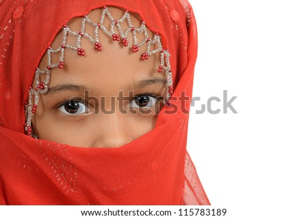 Young african girl wearing a red scarf