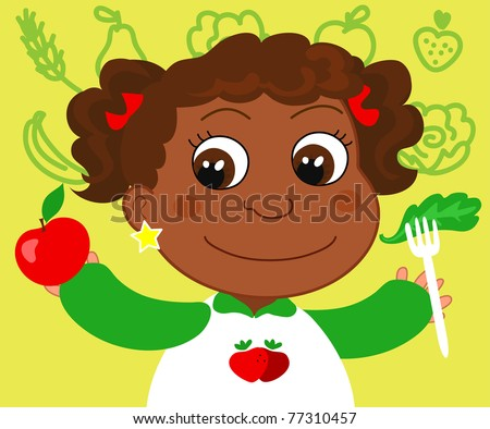 Young african girl with healthy food.