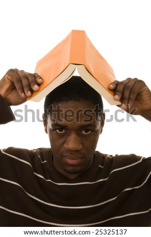 Young african man protect his head with a book