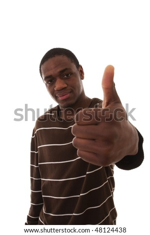 young african men gesturing OK with his hand