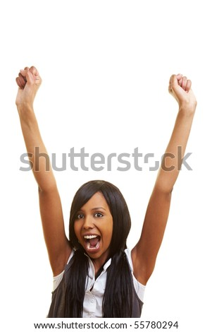 Young african woman cheering with her fists in the air
