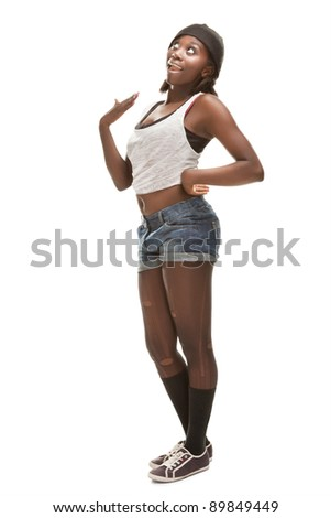 young african woman dancing hip-hop
