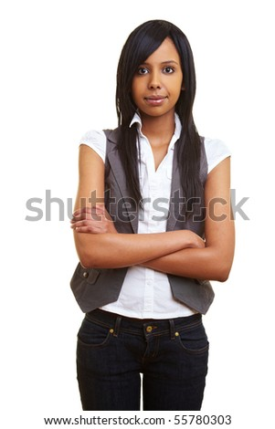 Young african woman looking sceptically into the camera