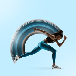 Young african woman running isolated on blue studio background. One female runner or jogger. Silhouette of jogging athlete. Concept of healthy lifestyle, sport, movement, action. Abstract design.