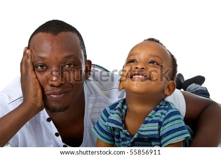 Young afro american family in a studio setting.