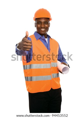 Young Afro-American with blueprints showing thumb up isolated on white background