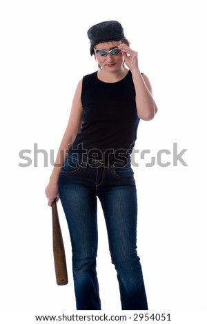 young aggressive woman in jeans, dark glasses, t-shirt and cap, with baseball bat in hand, isolated on white