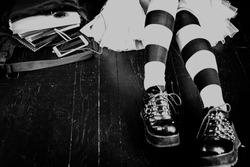 Young alternative girl with school bag - black and white image