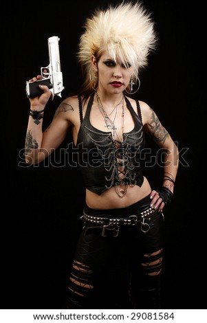 Stock Photo Young alternative woman with a gun.