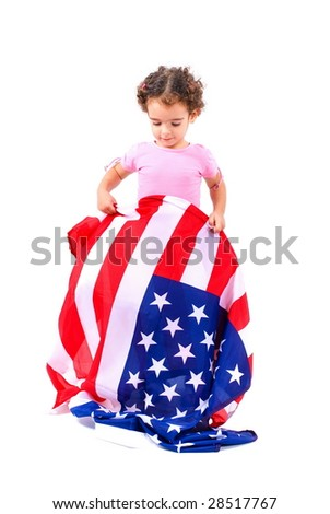 Young American holding the USA flag .