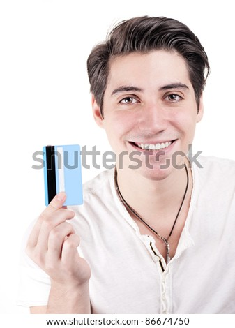 Young and attractive happy man holding credit card