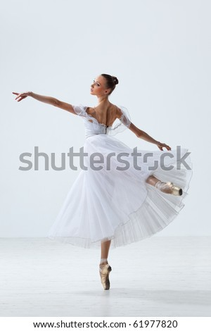 young and beautiful ballet dancer jumping