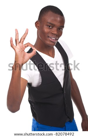 young and beautiful black man  doing ok sign