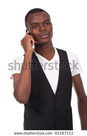 young and beautiful black man speaking on the phone