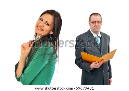 Young and beautiful, cheerful business woman and her male boss
