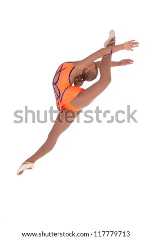 young and beautiful gymnastic dancer posing on studio white background