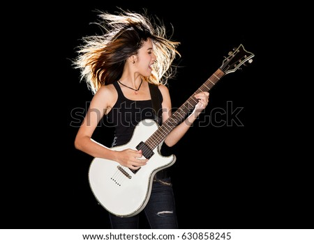 Have sexy girl playing electric guitar