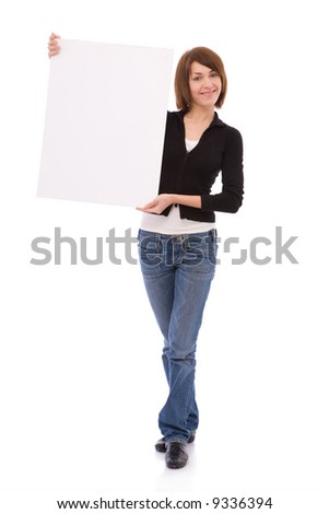 young and beautiful woman holding a blank board for your messages