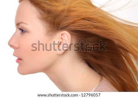 Young and good  looking  woman. Portrait of a beautiful  young woman with wind - stock photo