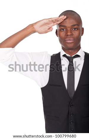young and handsome black man gives salute