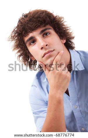 young and handsome man, thinking, isolated on white, studio shot