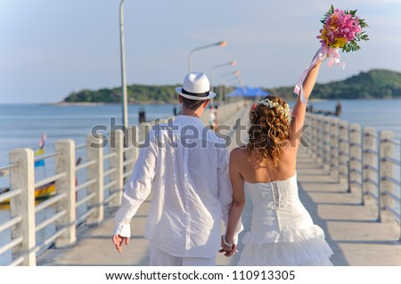 young and happy wedding couple. good use for loving concept
