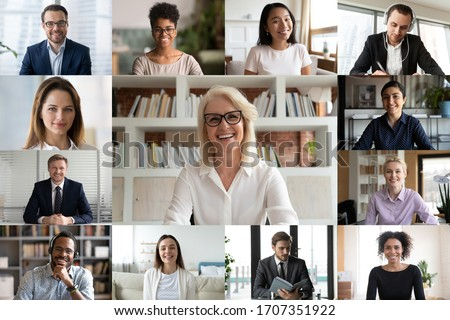 Young and mature businesspeople using videoconference application, engaged in on-line meeting working distantly from home, computer webcam screen full frame view. Video call, modern tech usage concept
