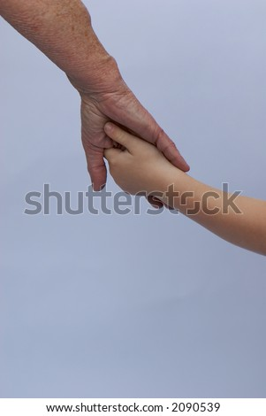 Young and old holding hands