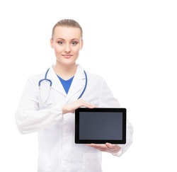 Young and professional woman doctor with an ipad isolated on white