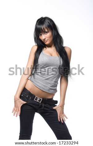 Young and seductive brunette isolated over white background