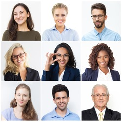 Young and senior men and women faces isolated over white background. Positive human emotion. Diversity and business team concept. Collection of avatar of people.