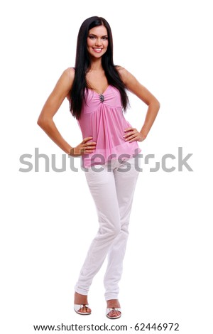 young and sexy girl in pink blouse at white background
