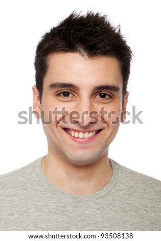 young and smiling casual man headshot (isolated on white background) - stock photo