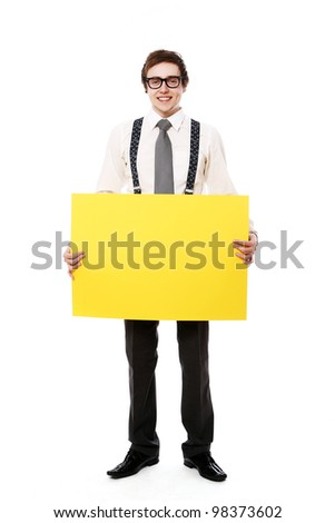 Young and stylish businessman with empty billboard over white background