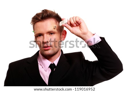 Young android businessman with computer sockets in his head. Computer conception